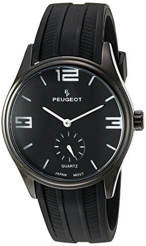 Peugeot 2042WBK - Orologio da polso da uomo, cinturino in gomma colore nero