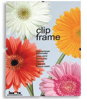 Innova Editions - Cornice in vetro per foto o poster, 20 x 25 cm, con clip e base di supporto bianca