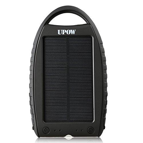 Upow 7000mAh ポータブルソーラーチャージャー LEDライト付 スマートフォン/タブレット (ブラック)
