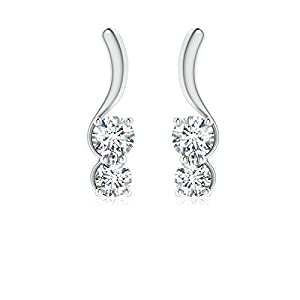 Mothers Day Twist Bar Two Stone Elegant Diamond Earrings in Platinum (Color: G, Clarity: VS, Weight: 0.35ctwt)