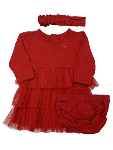 Carters Infant Girls Red Ruffles Party Dress Christmas Outfit with Headband