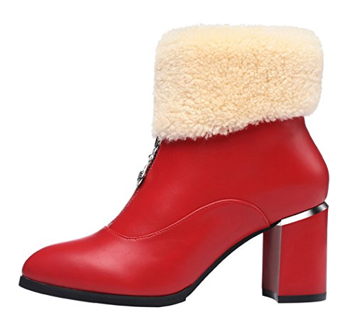Guciheaven Women New Style Ponited-Toed Rough Heels Wool Shoes(5.5 B(M)Us, Red)
