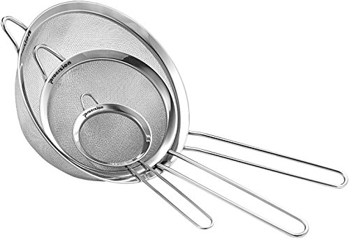 Stainless Steel Fine Mesh Micro-Perforated Strainers Set of 3 All Purpose Colander Sieve for Superior Baking and Cooking Preparation (3 Pack Large) (Ultra Fine Rice Flour compare prices)