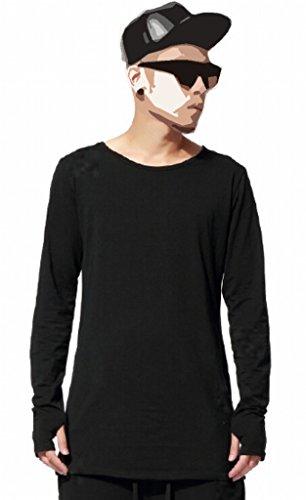 Easy Men Stylish Hip Hop Raglan Long-Sleeved Slim Fit Tshirt Top M Black