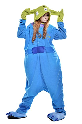 [Pajamas, Abary Unisex Adult Hooded Lounge Sleepsuit Animal Onesie Costumes Blue Aliens S] (Alien Costume Woman)