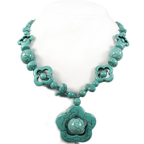 Turquoise Beads Necklace and Pendant - Flower Inspired Design