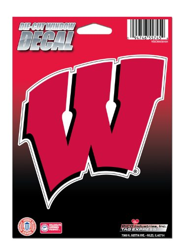 NCAA Wisconsin Badgers Die Cut Vinyl Decal with Backing (Badger Window Decal compare prices)