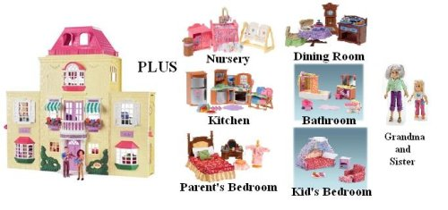 Loving Family Twin Time Dollhouse Superset with Basic Dollhouse and Its Accessories Plus Nursery Room, Kitchen, Parent's Bedroom, Dining Room, Bathroom, Kid's Bedroom, Grandma and Sister - Buy Loving Family Twin Time Dollhouse Superset with Basic Dollhouse and Its Accessories Plus Nursery Room, Kitchen, Parent's Bedroom, Dining Room, Bathroom, Kid's Bedroom, Grandma and Sister - Purchase Loving Family Twin Time Dollhouse Superset with Basic Dollhouse and Its Accessories Plus Nursery Room, Kitchen, Parent's Bedroom, Dining Room, Bathroom, Kid's Bedroom, Grandma and Sister (Loving Family, Toys & Games,Categories,Dolls,Playsets)