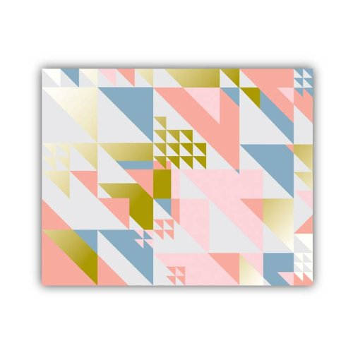 "Lucy Darling Triangle Series Wall Decor, Pink/Gold/Blue/White, 8"" x 10"" - 1"