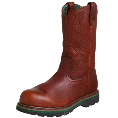 John Deere Men's Wellington Work Boot Steel Toe Walnut US