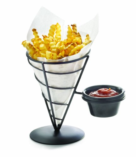 Tablecraft Vertigo Collection 2-Pack Appetizer Cones with Ramekin, 8-Inch by 5-1/2-Inch by 9-Inch