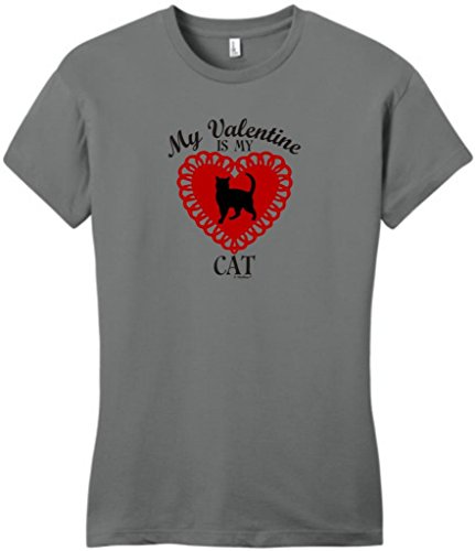 My Valentine Is My Cat Juniors T-Shirt Large Grey