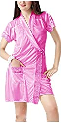 Hot N Sweet Womens Satin Nightwear ,Pink ,Free Size