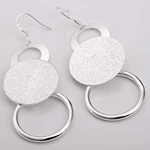 New Jewelry Classic Lady Women 925 Fashion Beautiful Womens Jewelry solid Silver Earring+ velvet pouch
