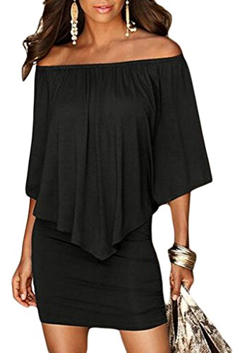 Sidefeel Women Plus Size Off Shoulder Ruffles Clubwear Mini Dress X-Large Black