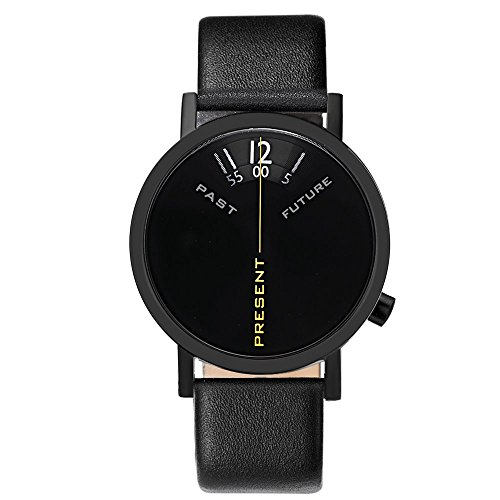 "Projects Watches ""Past, Present, Future Black"" Acciaio IP Nero Pelle Unisex Orologio"