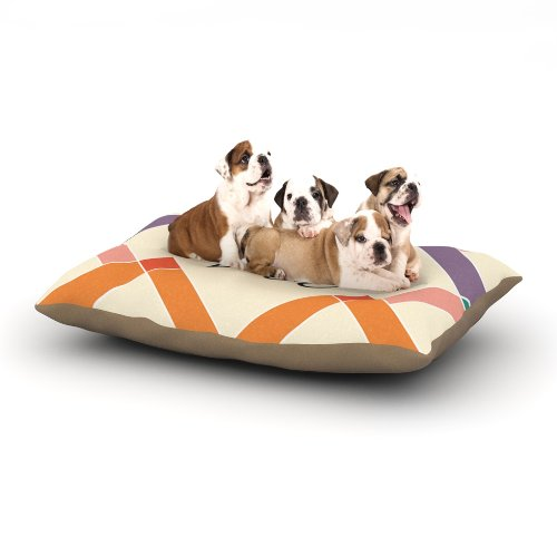 Kess InHouse Zoe Colorful Geometry Name Fleece Dog Bed kess inhouse padgett mason hootie cutie fleece dog bed