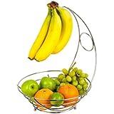 Chrome Fruit Bowl With Banana Hanger