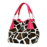 Fuchsia Giraffe Designer Inspired Animal Print Handbag Purse Bag Tote