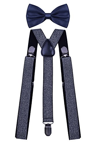 WDSKY Mens Braces for Trousers Large Bow Tie Dress Suspenders for Men Silver Glitter (1960 Ties compare prices)
