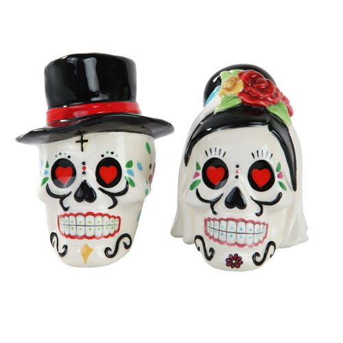 1 X Day of Dead Sugar Wedding Skulls Salt & Pepper Shakers