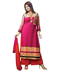 Ayesha Dreamwear Women's Cotton Dress Material (9004, Dark Pink)