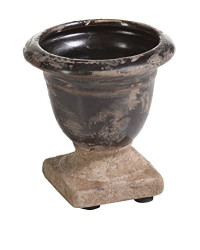 Zodax Small Bagatelle Terracotta Candle Urn, Black