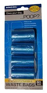 Ancol Bio-Degradable Poop Waste Bags Blue 60 Bags 4 Pack
