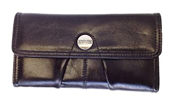 New Kenneth Cole Reaction Multi Credit Card Case Trifold Wallet Organizer Clutch (Black)