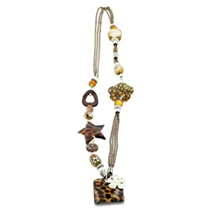 Mother Of Pearl Wild Animal Print and Murano Glass Floral Bead Necklace, 30 Inches Long