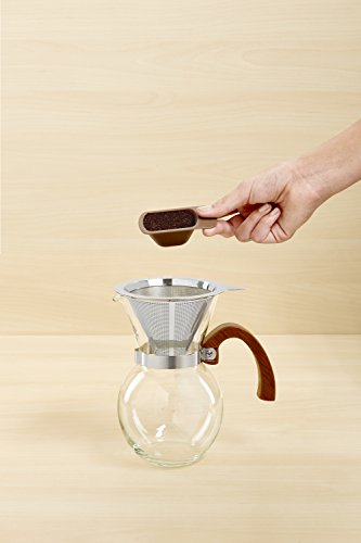Harold Import Company HIC Pour-Over Coffee Maker Borosilicate Glass with Bamboo Handle Stainless ...