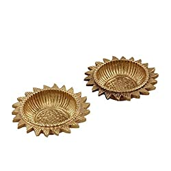 Purpledip Set of 2 Brass Arti Diyas Indian Religious gift (10237)