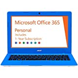 Acer Aspire One Cloudbook, 11-Inch HD, 32GB, Windows 10, Electric Blue (AO1-131-C620) includes Office 365 Personal - 1 year