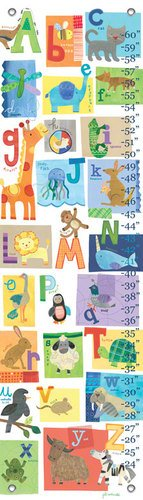 Oopsy Daisy A Z Animals by Jill McDonald Growth Charts, 12 by 42-Inch