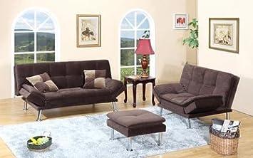 Furniture2go UFE-1048 Justine Dark Brown Futon Set + Ottoman - Sofa, Loveseat, Ottoman - Microfiber Suede