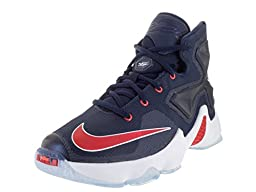 Nike Kids Lebron XIII (GS) Mid Navy/University Red/White/Brght Basketball Shoe 7 Kids US