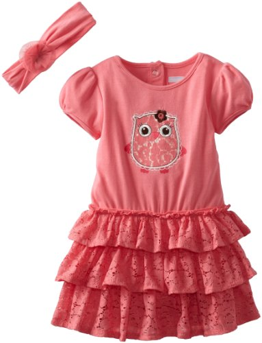Vitamins Baby Baby-Girls Infant Owl And Lace Short Sleeve Dress Set, Pink, 12 Months