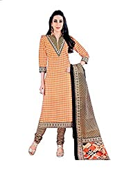 Pandadi Creation Women's Cotton Unstiched Salwar Suit Pics Dress Material with Cotton Dupatta
