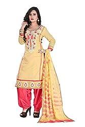 RajLaxmi Women's Fashion Beige & Pink Chanderi Silk Dress Material