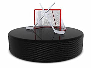 "Hockey Sticks and Goal on the Puck - 12""W x 9""H - Peel and Stick Wall Decal by Wallmonkeys"