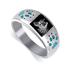 Sterling Silver Turquoise Inlay Wolf Southwestern Band Ring Size 6