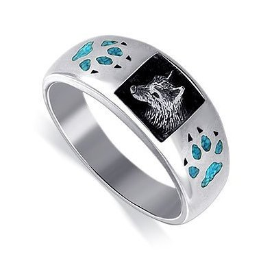 Sterling Silver Turquoise Inlay Wolf Southwestern Band Ring Size 7