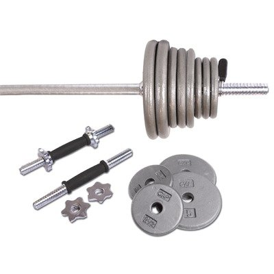 41JFMcGbB5L CAP Barbell Regular Grey 110 Pound Weight Set