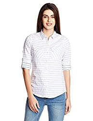 People Women's Button Down Shirt (P20402166005237_Light Blue_Small)