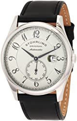 "Stuhrling Original Men's 171B.331554 ""Classic Cuvette"" Stainless Steel Automatic Watch with Leather Band"
