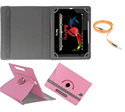 Gadget Decor (TM) PU LEATHER Rotating 360° Flip Case Cover With Stand For Anwyn AERO-AW-T702 + Free Aux Cable -Light Pink