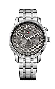 Tommy Hilfiger Calan Men's Quartz Watch with Grey Dial Analogue Display and Silver Stainless Steel Bracelet 1791086