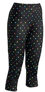 CW-X Women's 3/4 Length Stabilyx Tights,Large,Black/Polka Dots
