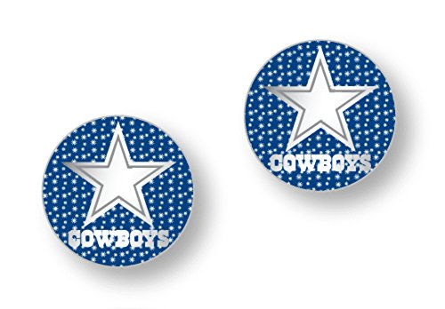 Licensed Nfl Dallas Cowboys Team Logo And Colors Post Earrings W/Glitter (Gift Box Included)