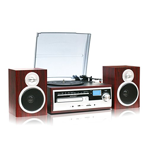 TechPlay ODC28SPK-WD 3-Speed Turntable with CD / MP3 / Cassette / SD Card / USB player, Digital AM / FM Radio, AUX IN, Line out Alarm CLOCK , Remote and External Speakers WOOD color